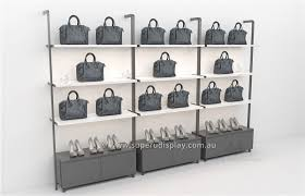 wall mounted handbags display shelves with led bar light and storage