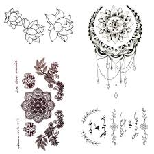 Small Henna Mandala Flower Temporary Tattoo Sun Moon Body Arm Chest Art Black Tattoo Girls Hands Makeup Tip Tatoo Sticker Women