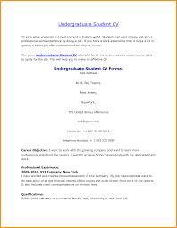 Undergraduate Student Curriculum Vitae Sample Letter Format Mail