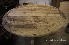 details of table 72 round pedestal dining table reclaimed cedar hydro pole base reclaimed hemlock threshing floor 2 top premium matte