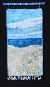 Blue Skies by Eileen Willliams. Mini art quilt | Seascape quilts, Landscape  art quilts, Art quilts