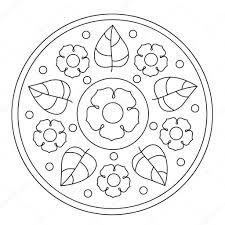 Eenvoudig Bloemen Mandala Kleurplaten Stockvector Ingasmk 113330134