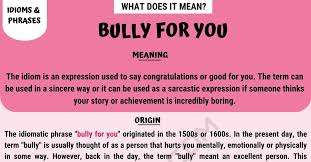 bully for you what is the meaning of