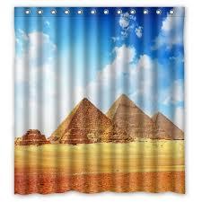 aplysia stylish fabric bath curtain custom famous egyptian pyramid bathroom shower curtain with rings 66 x