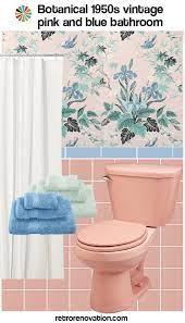 pink and blue tile bathroom