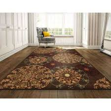 ottohome collection contemporary medallion design brown 8 ft x 10 ft area rug