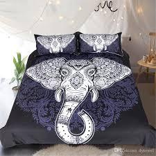 whole elephant bedding set black mandala flower comforter set queen king bohemian devet cover with pillow cover bedclothes home textile bedding