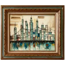 mid century original oil on canvas cityscape painting by hadley at 1stdibs