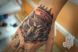 Grey Ink Wolf Head Tattoo On Right Hand