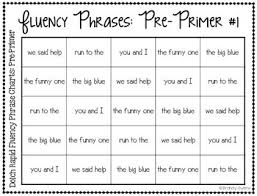 Sight Word Rapid Reading Charts For Fluency Pre Primer Words And Phrases