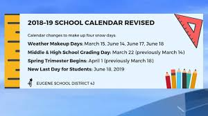 How To Make A School Calendar Eugene 4j Adds Days To School Year To Make Up For Time Lost
