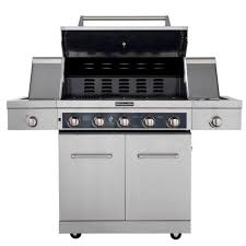 kitchenaid 5 burner propane gas grill in stainless steel with sear