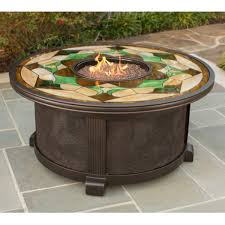 nuriel outdoor gas fire pit with stained glass top gas fire pit table sets