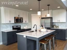 Kitchen Antique White Cabinets With Black Appliances Grey Island
