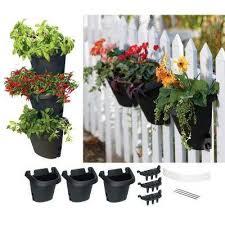 black hanging garden plastic planter system 3 pack