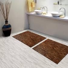 Brown Teak Bath Mat On Cozy Parkay Floor And Bowl Sink Vanity Plus Graff  Faucets For