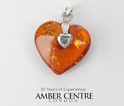 handmade german baltic amber heart pendant 925 silver