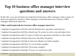 Top 10 Business Office Manager Interview Questions And Answers