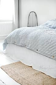 striped in blue and white linen duvet cover set