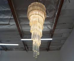 spiral murano glass chandelier by venini in good condition for in burbank ca