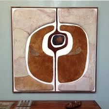 copper suede wall art from brown estate mid century modern art artwork leather metal diy leather