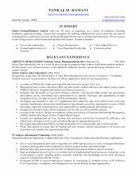 Business Systems Analyst Resume Fresh Business Analyst Resume