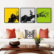 >haochu 3 panel yellow green grey background visual impact abstract  haochu 3 panel yellow green grey background visual impact abstract poster combined canvas painting unique wall