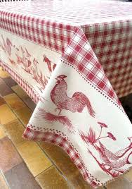 country tablecloths red check tablecloth french rooster oilcloth farmyard animals custom decor style