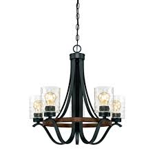 westinghouse barnwell 5 light textured iron and barnwood chandelier with clear hammered glass shades