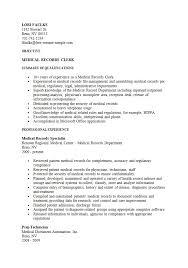 Medical Records Clerk Sample