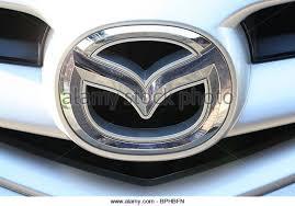 mazda logo. silver mazda logo stock image