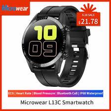 2020 Mới Microwear L13C Đồng Hồ Thông Minh SmartWatch Điện Tâm Đồ Đo Nhịp  Tim Huyết Áp Đo Quãng Đường Đi IP68 Bluetooth Chống Nước Gọi VS L12 L13 Đồng  Hồ Thông