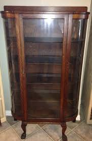 China Cabinet With Hutch Antique Tiger Oak Curved Glass Curio China Cabinet Hutch For Sale