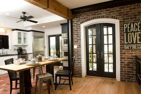 Brick Kitchen Decorations Small Country Brick Kitchen With Beige Backsplash