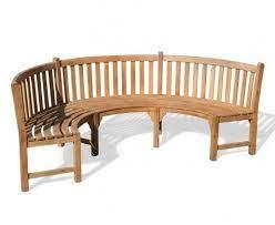 henley teak curved garden bench semi