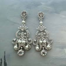 bridal chandelier earrings chandelier bridal earrings e0022 ivory pearl bridal earrings