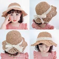 Review mũ cói chống nắng thắt nơ phong cách hàn quốc thời trang đi biển mùa  hè cho bé gái