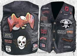 mens black leather motorcycle vest waistcoat with 23 biker patches eagle skull