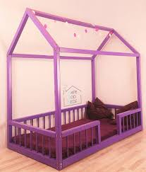 house shaped montessori bed with rails house bed montessori bed
