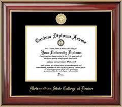metro state college of denver diploma frames certificate framing  gold medallion mahogany gold trim diploma frame