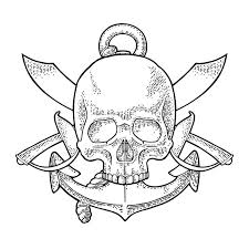 <b>Skull</b>, crossed pirate sabers and anchor. <b>Vintage</b> vector black ...