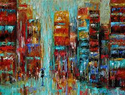 cityscape abstract art rainy street painting by debra hurd
