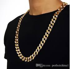whole 2017 hip hop style gold finish iced out chain men jewelry cuban necklace for party anniversary bijouterie chain necklace mens necklace from