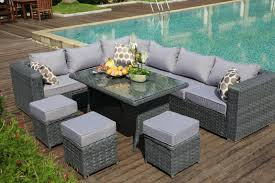 grey rattan dining table. 2016papaver range 9 seater rattan corner sofa \u0026 dining set garden furniture grey | ebay table u