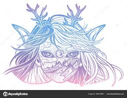 Monster Girl Young Elf Magic Woman With Double Exposure Face Of