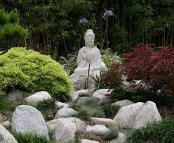 buddha garden. Garden With Boulders And Resign Buddha Statue : Statues In Your Yard