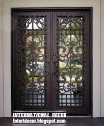 italian double door modern wrought iron glass door inserts black door