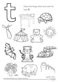 things that begin with the letter t start with the letter t colouring page