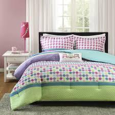 beautiful pink purple green blue aqua teal polka dot owl girls comforter set
