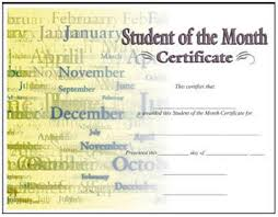 Student Of The Month Certificates Student Of The Month Certificate Buy Awards Trophies